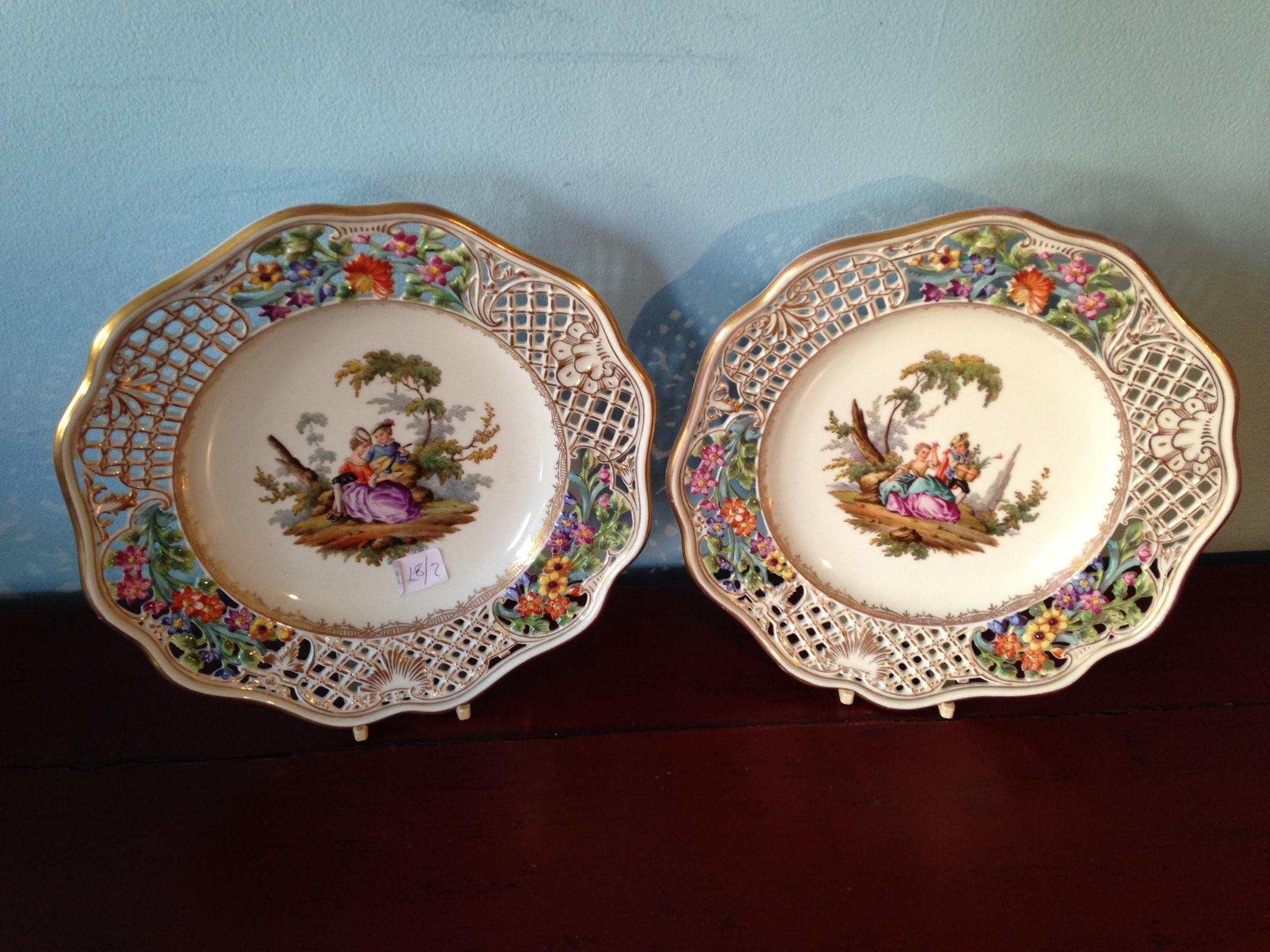 Lot 12 - Pair Meissen porcelain plates slight a/f to glaze 20 cms diam