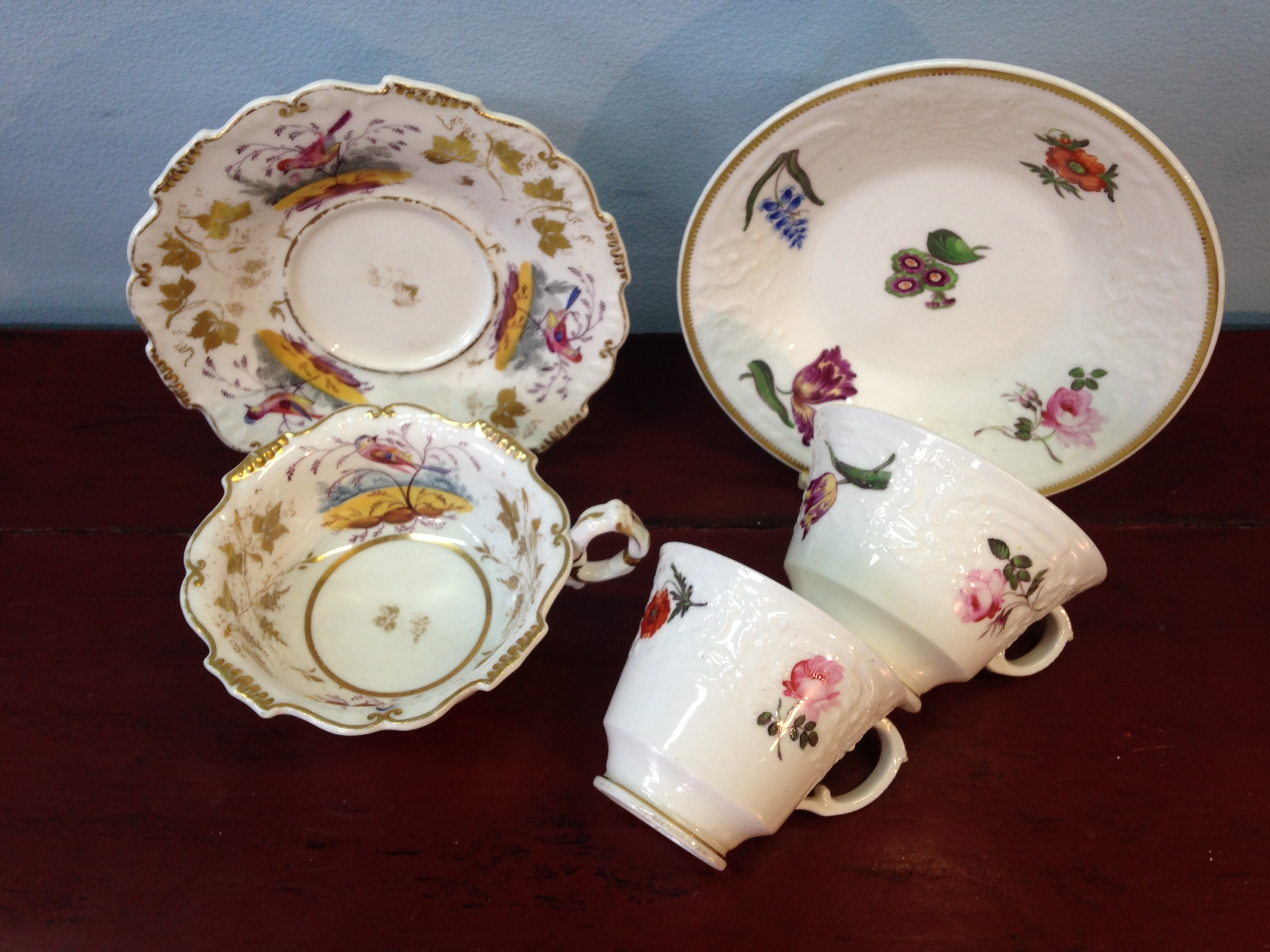 Lot 7 - Daniel porcelain cup and saucer c1830 and Coalport felspar trio