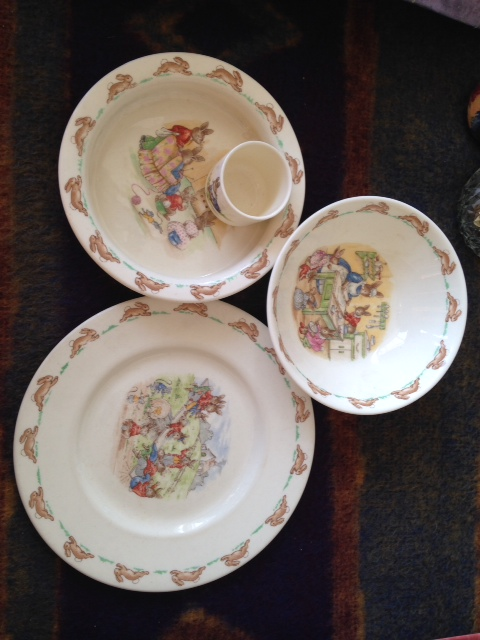 Lot 54 - Four pieces Royal Doulton Bunnykins pottery