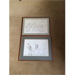 Two ink drawings by James Howe 1780 - 1836 carthorses signed HOW