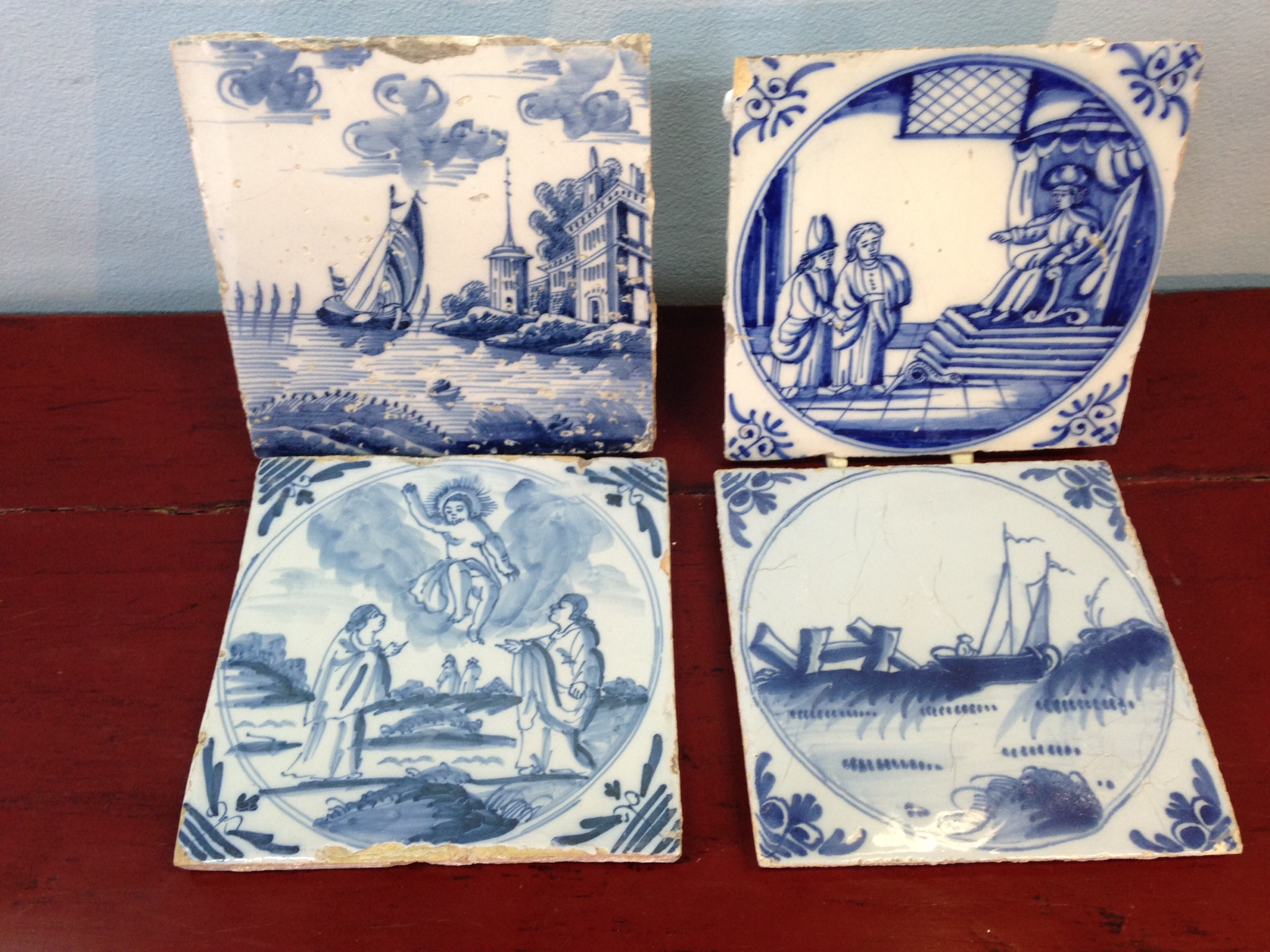 Lot 6 - Four late 18th early 19th c delft tiles