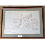 Ink drawing by James Howe 1780 - 1836 A couple riding out with their dog signed