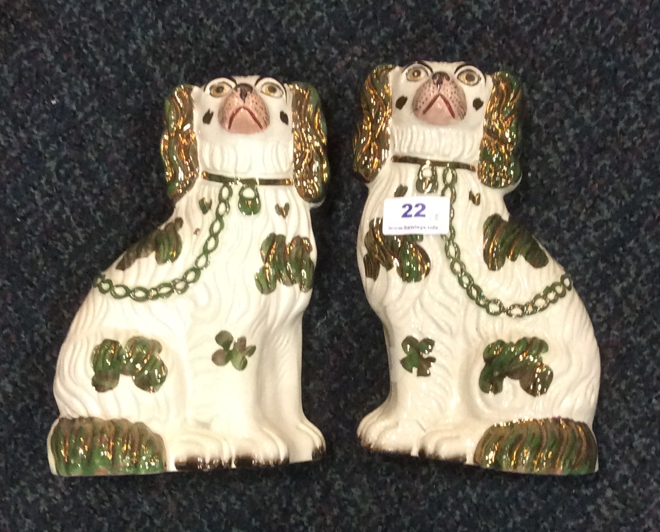Lot 22 - Pair mid 19th c Staffordshire dogs