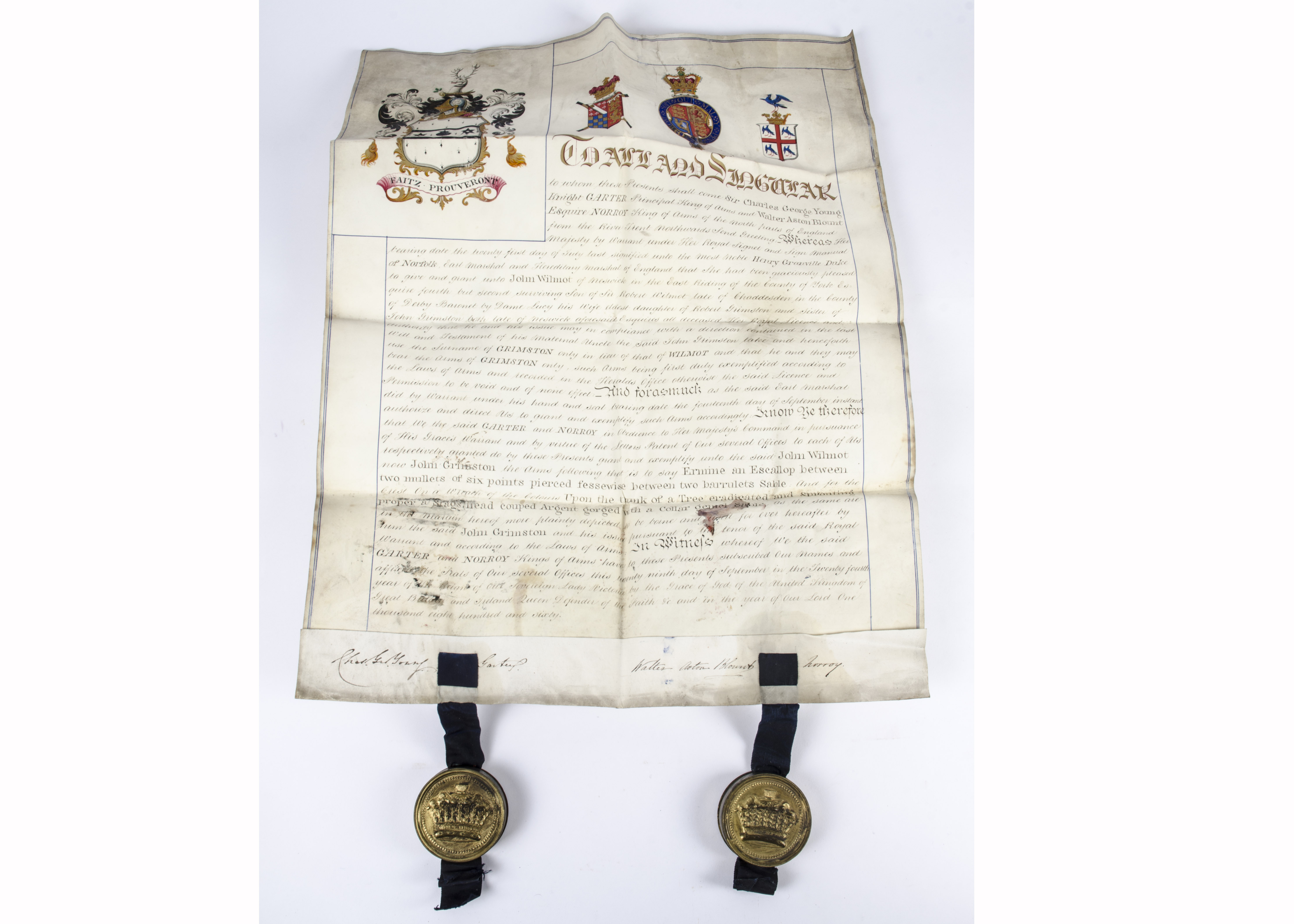 Lot 144 - A late 19th Century vellum indenture dated 29th September 1860, by Sir Charles George Young,