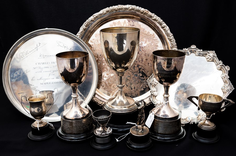 Lot 242 - Sporting: A collection of assorted silver and silver plated trophies, and salvers to comprise: a