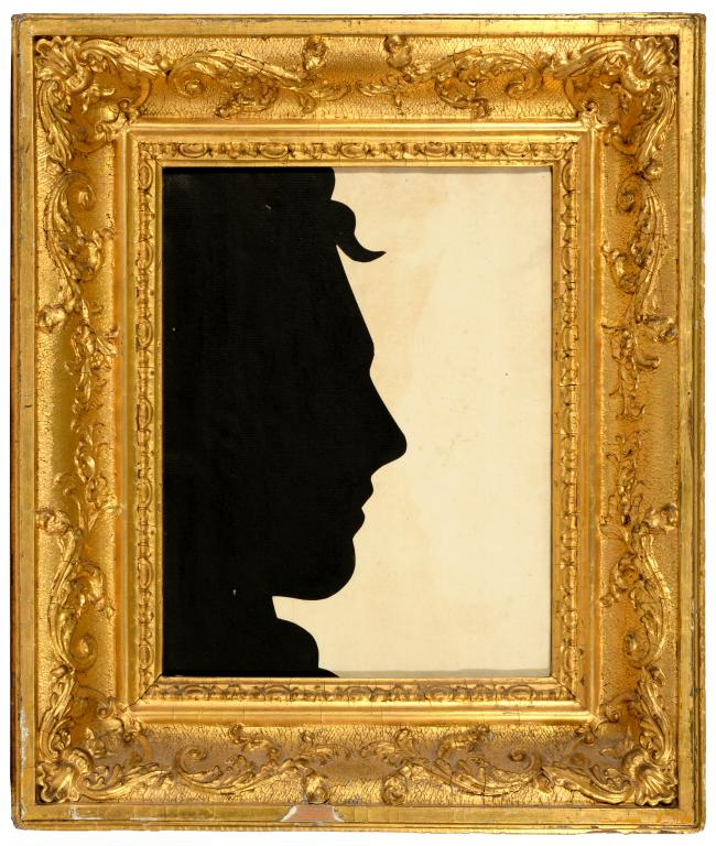 ENGLISH PROFILIST, EARLY 19TH C LIFE SIZE SILHOUETTE OF THE HEAD OF LORD BYRON cut paper, 30 x 23cm,