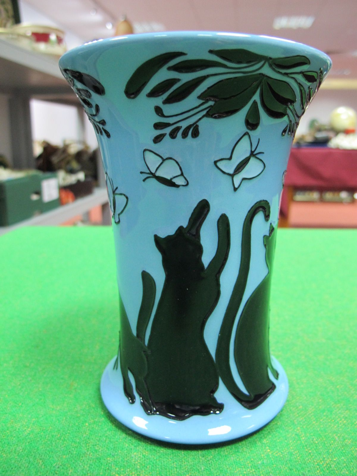 """Lot 84 - A Moorcroft Pottery """"Lucky Black Cat"""" Vase, designed by Paula Hilditch, shape 158/6, numbered"""
