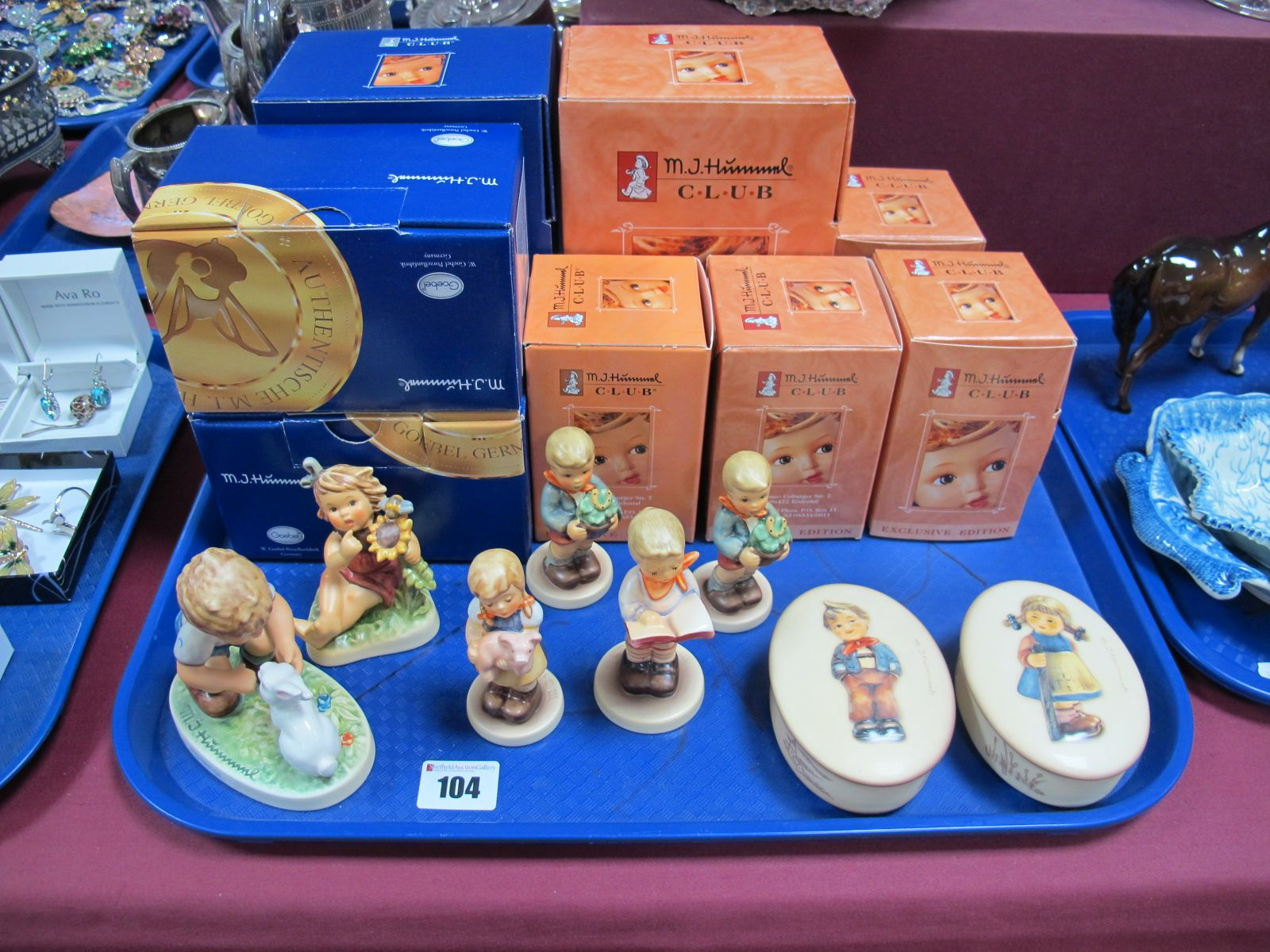 Lot 104 - Eight Boxed M. J. Hummel Models, (including six Exclusive Editions) - Honor Student, Sunflower