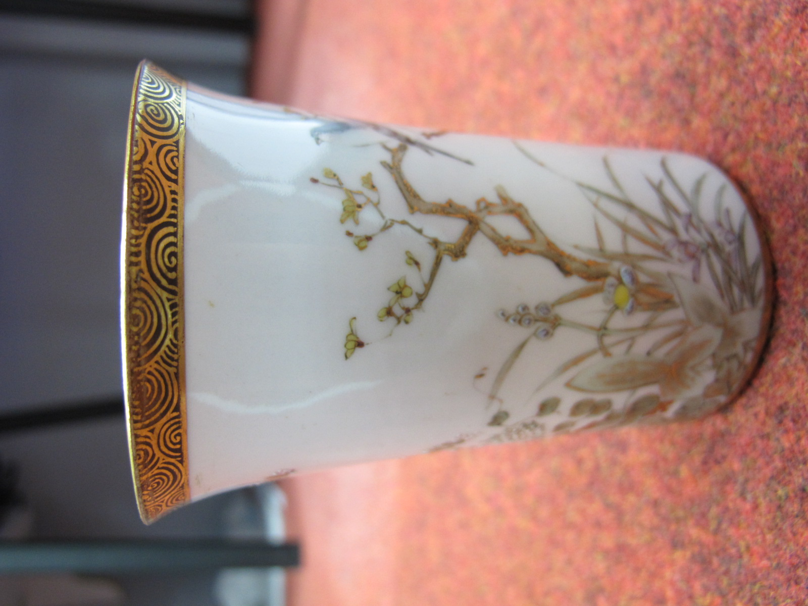 Lot 113 - Mabel Leigh Shorter Pottery Jug, Aztec pattern (damaged), Shelley vase with a red ground decorated