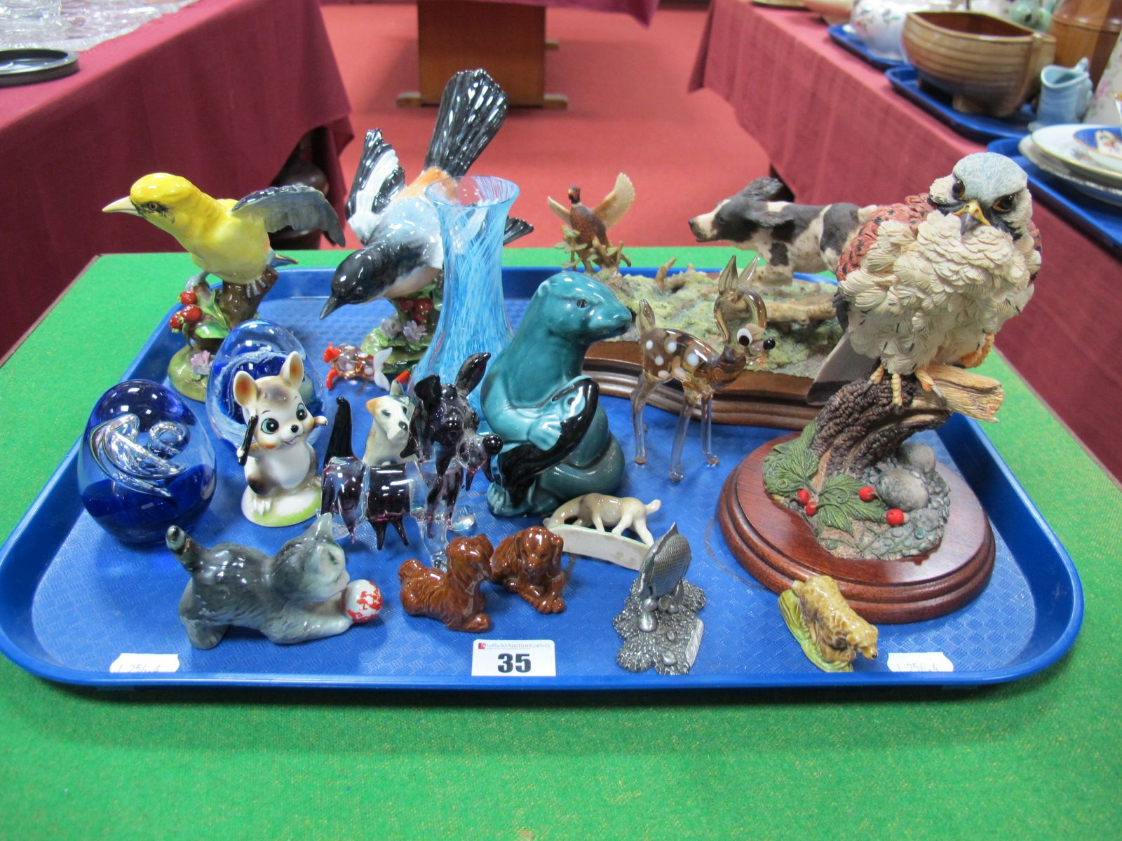 Lot 35 - Crown Staffordshire Figures of Birds, modelled by J. T Jones, Wade figures, Border Fine Arts Spaniel