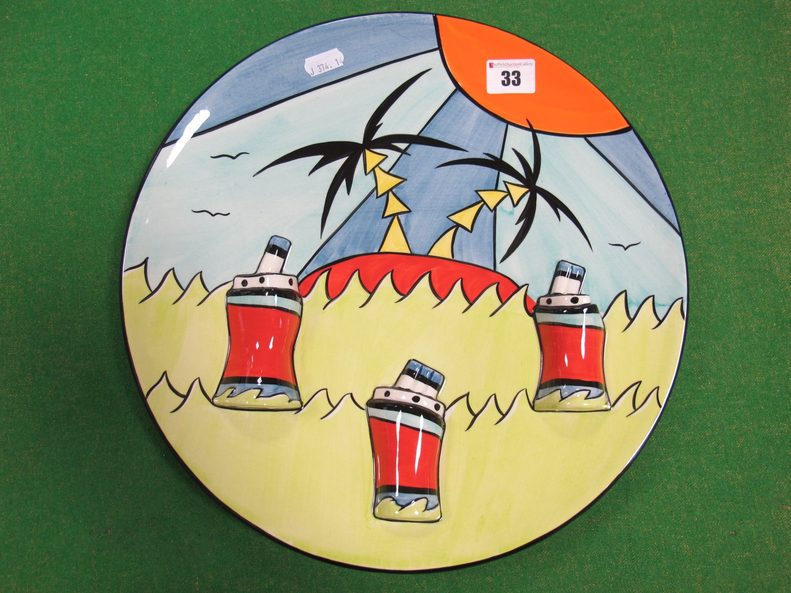 "Lot 33 - A Lorna Bailey Pottery ""Deco Ship"" Charger, limited edition number 3/3, available only at the Open"
