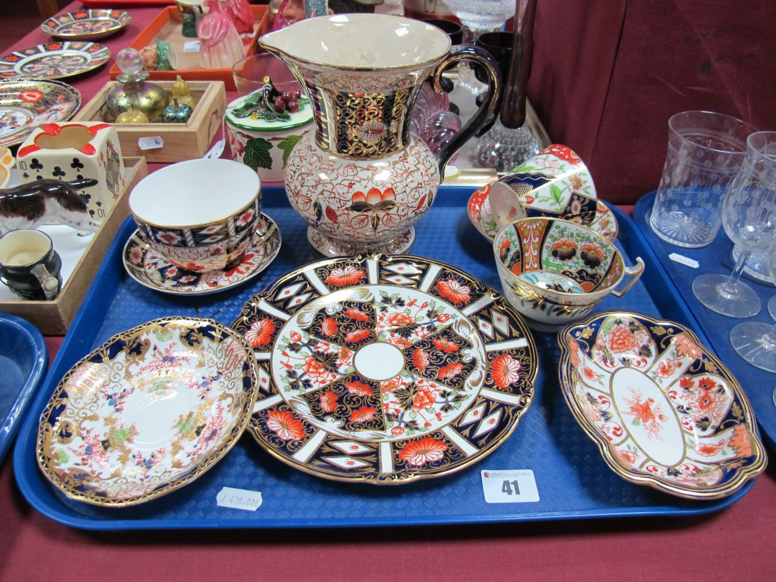 """Lot 41 - Royal Crown Derby Wavy Rim Plates, 20.5cm diameter, serpentine dish, """"1813"""" cup and saucer, teabowl,"""