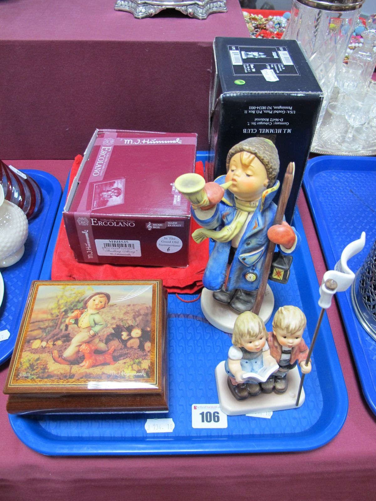 Lot 106 - A Goebel Limited Edition 'Boy with Horn and Lantern', height 19cm 103/200, a Hummel Club '