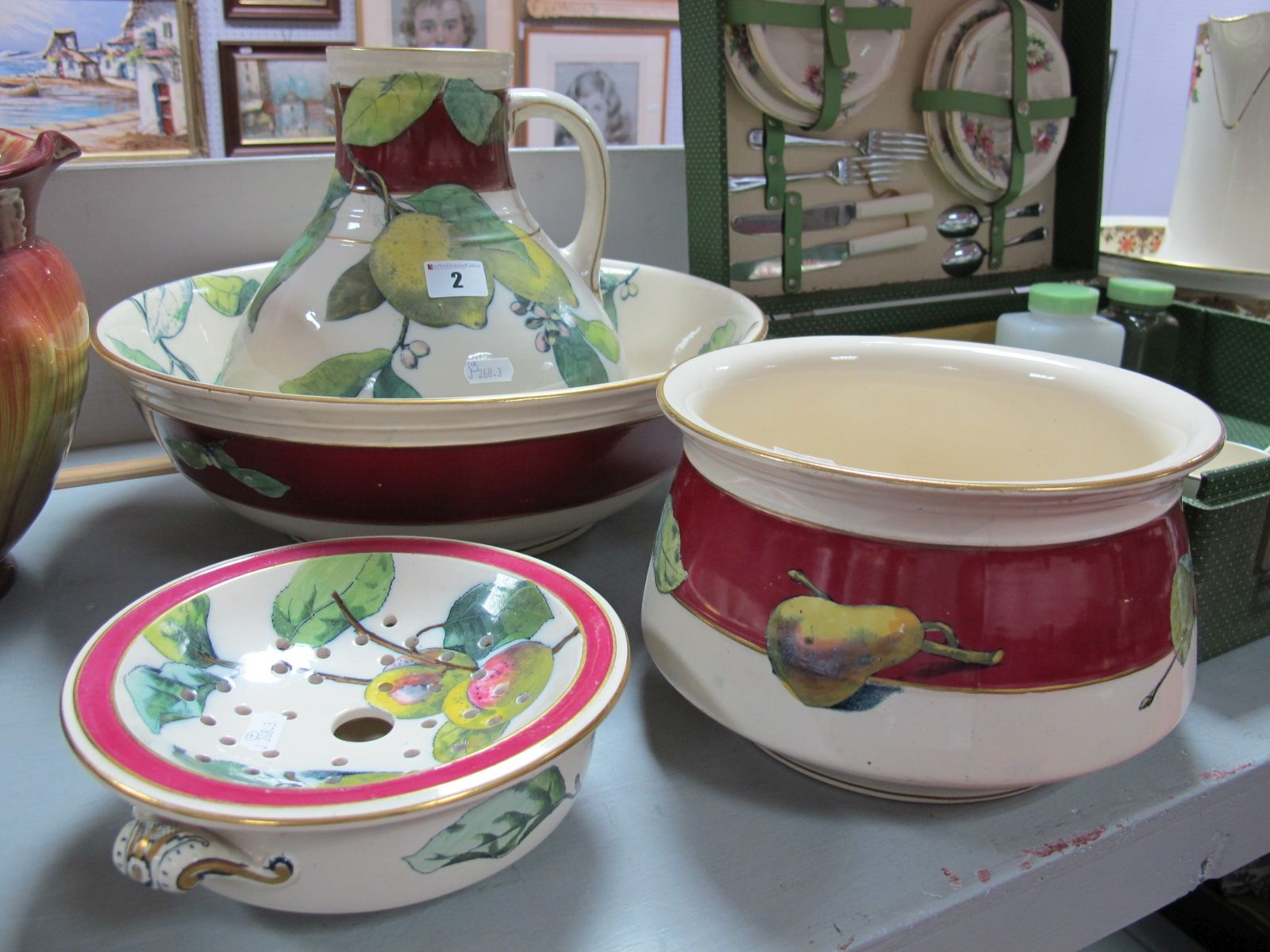 Lot 2 - A Victorian Pottery Four Piece Toilet Set, comprising toilet jug and bowl, chamber pot and soap