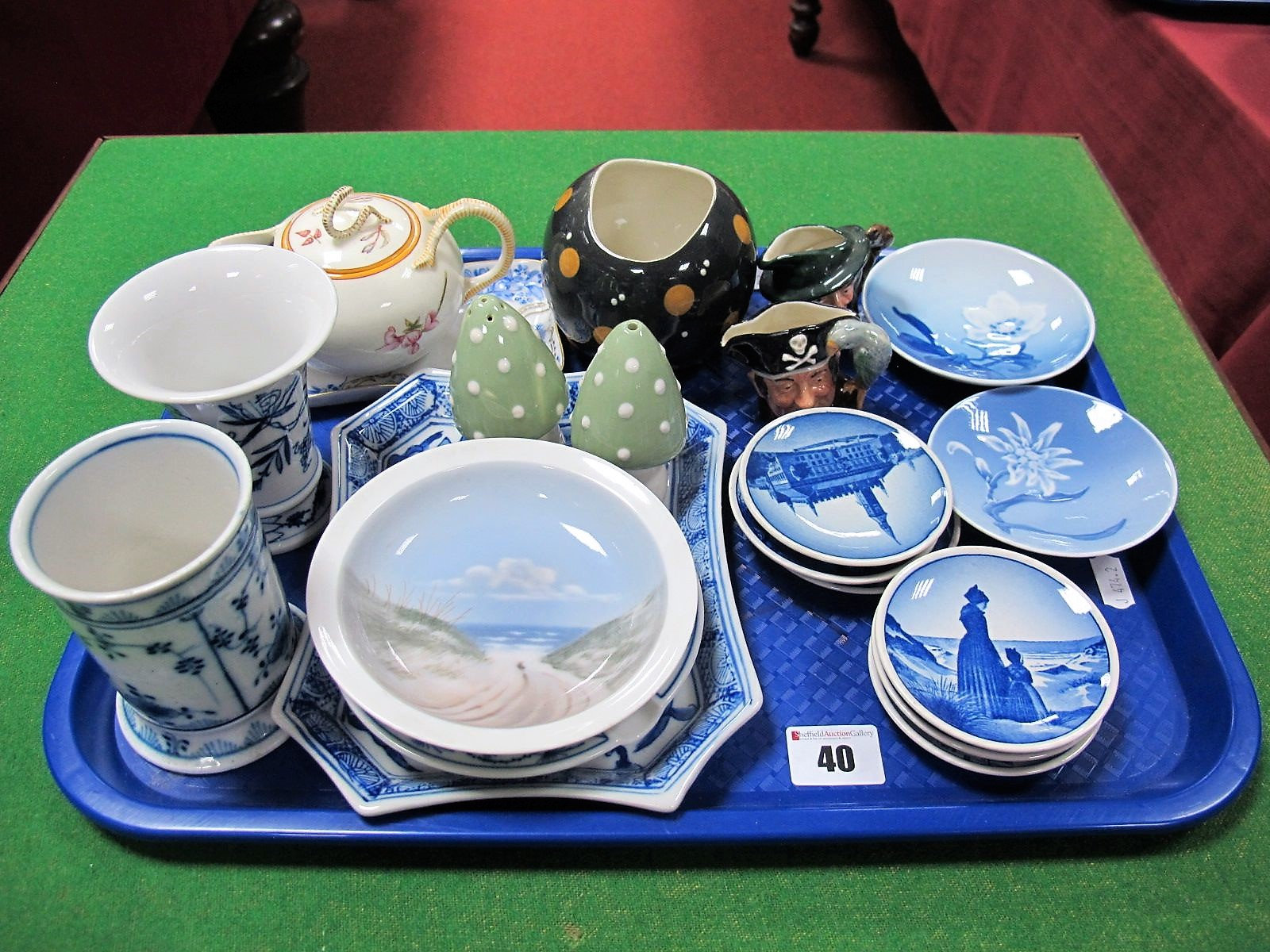 Lot 40 - Royal Copenhagen Pin Dishes, Continental shallow trays flared vases, cylindrical vase in the style