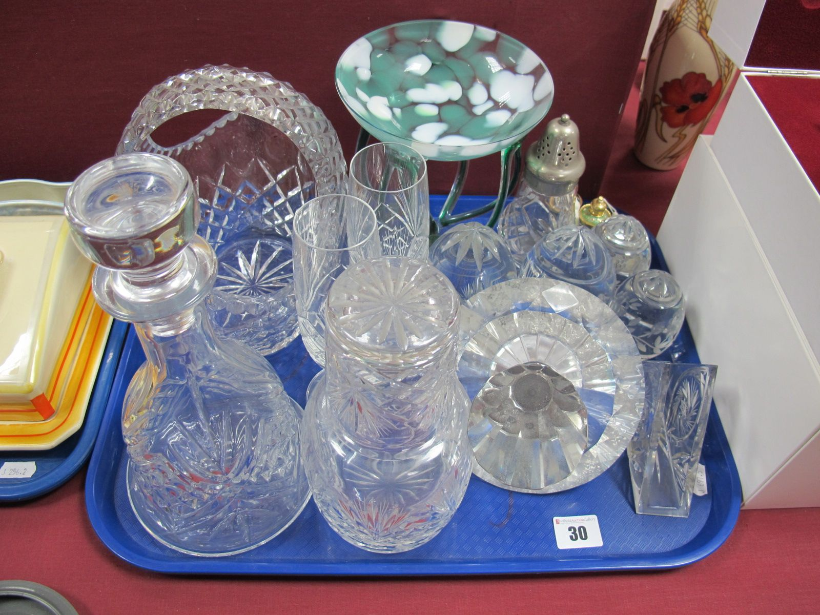 Lot 30 - Lead Crystal Glass Ware, carafe, paperweights, caster, studio glass pedestal dish, large scent