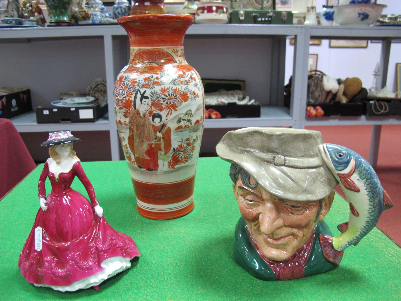 Lot 48 - A Worcester Figurine 'Christina' Les Petite's, Doulton 'The Poacher' character jug, Kutani style
