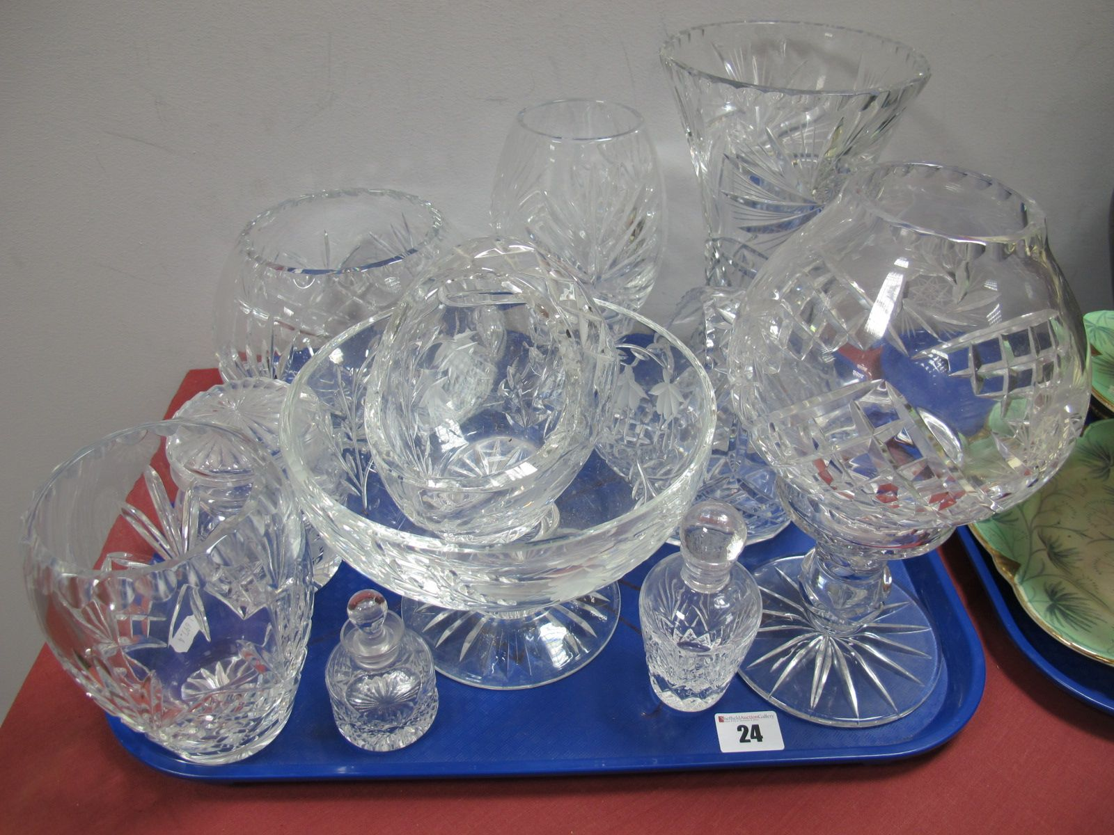 Lot 24 - Lead Crystal Glass Ware, candle lamps, waisted vase, basket vases, jar and cover, scent bottles,