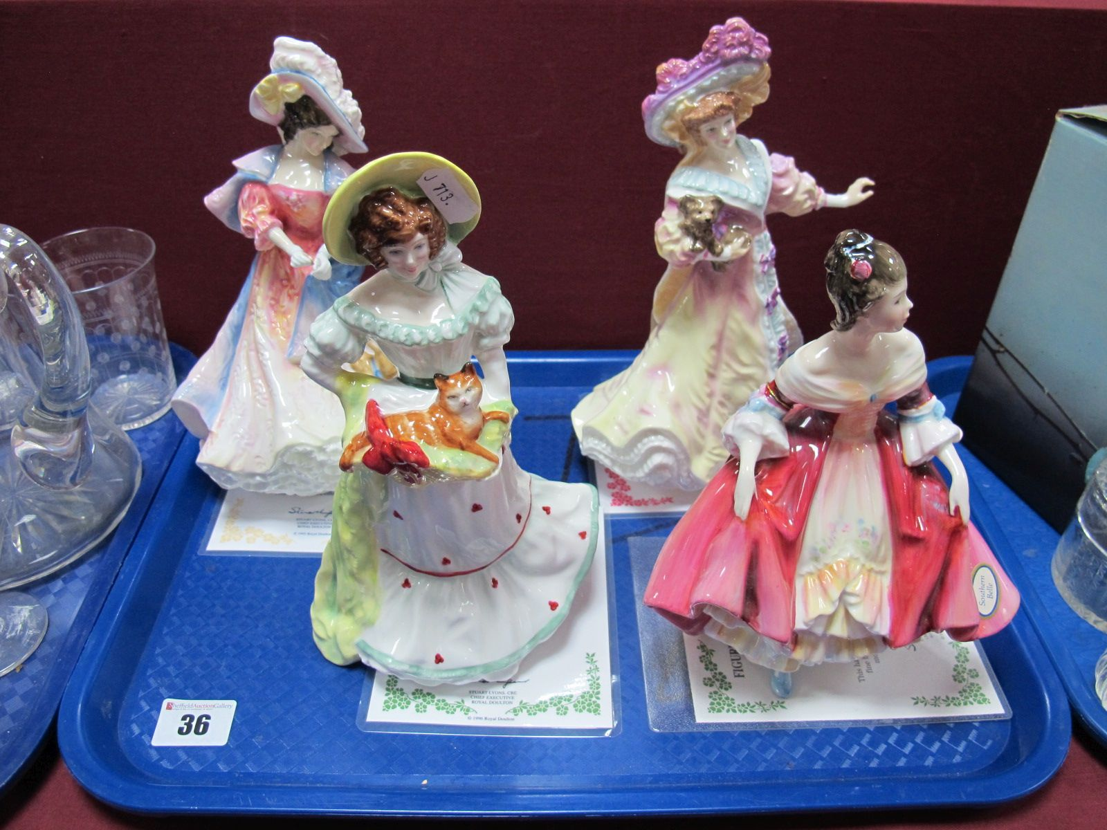 "Lot 36 - Three Rpyal Doulton Figurines, ""Katherine"" 1996 HN 3708, ""Jane"" 1997 HN 3711, ""Lily"" 1995 HN 3626,"