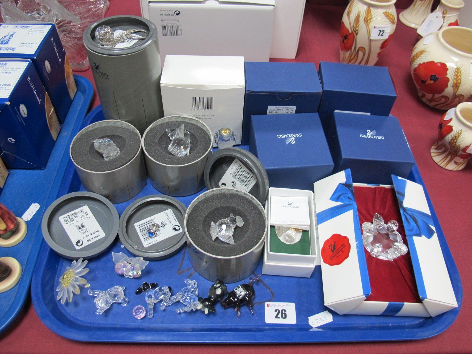 Lot 26 - Swarovski Crystal, Owl, Elephant, Hen, Hot Air Balloon, Key Ring, etc:- One Tray