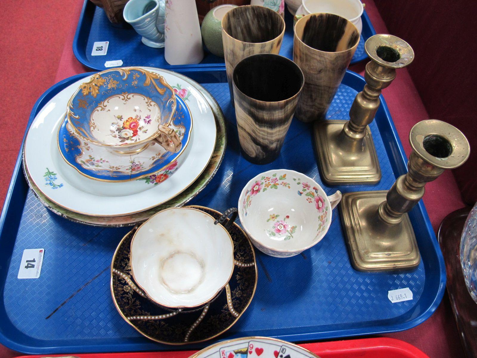 Lot 14 - Three XIX Century Horn Beakers, pair of XIX Century brass candlesticks, Aynsley cup in a