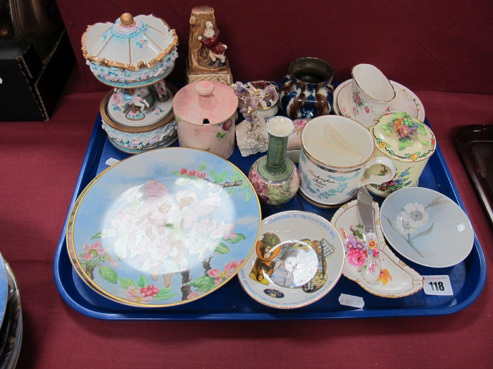 Lot 118 - A Royal Crown Derby Pin Dish, Copenhagen pin dish, Radford preserve pot, Flower Fairies cabinet
