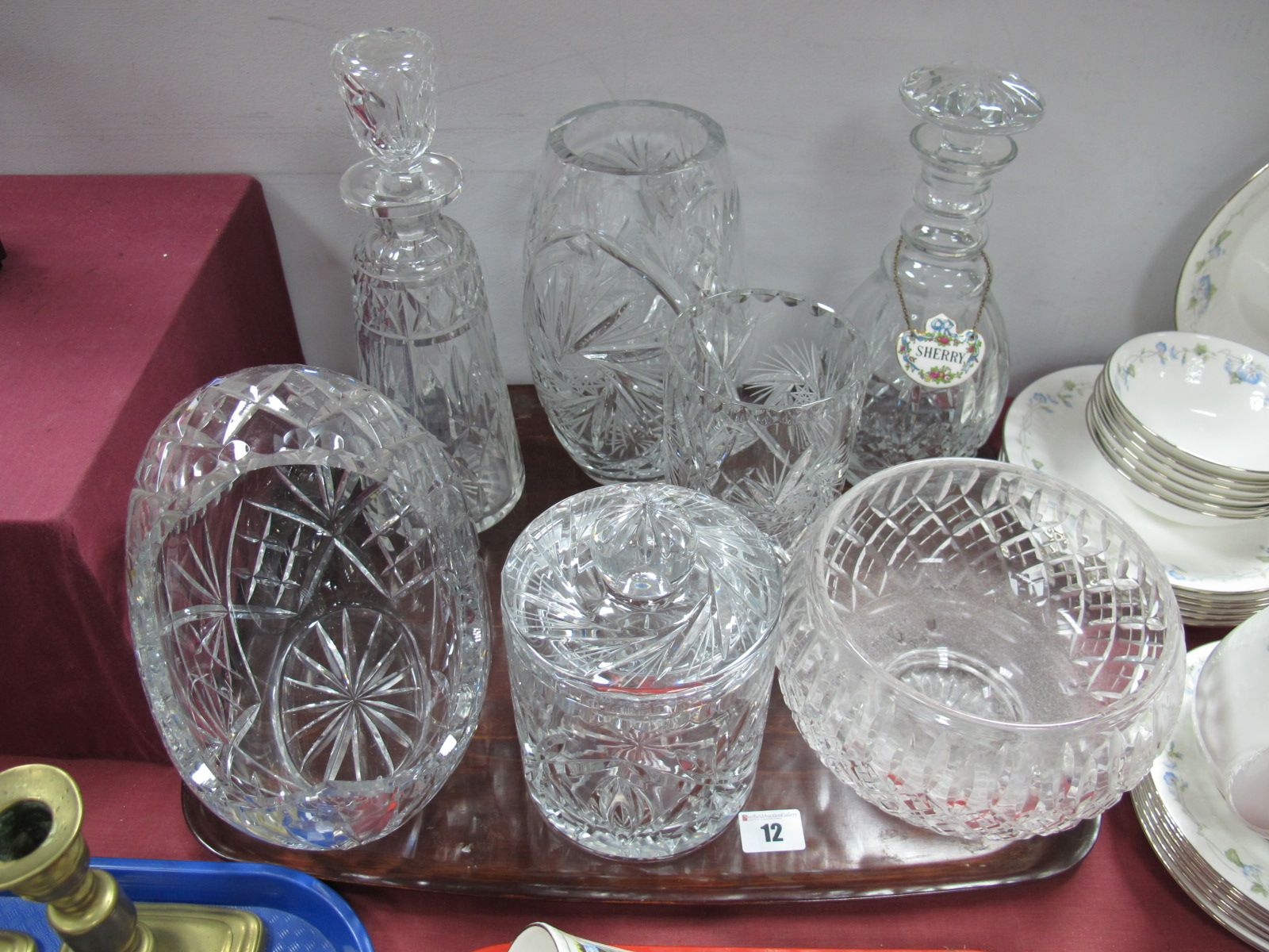 Lot 12 - Two Glass Decanters, biscuit barrel, vases, basket, fruit bowl:- One Tray