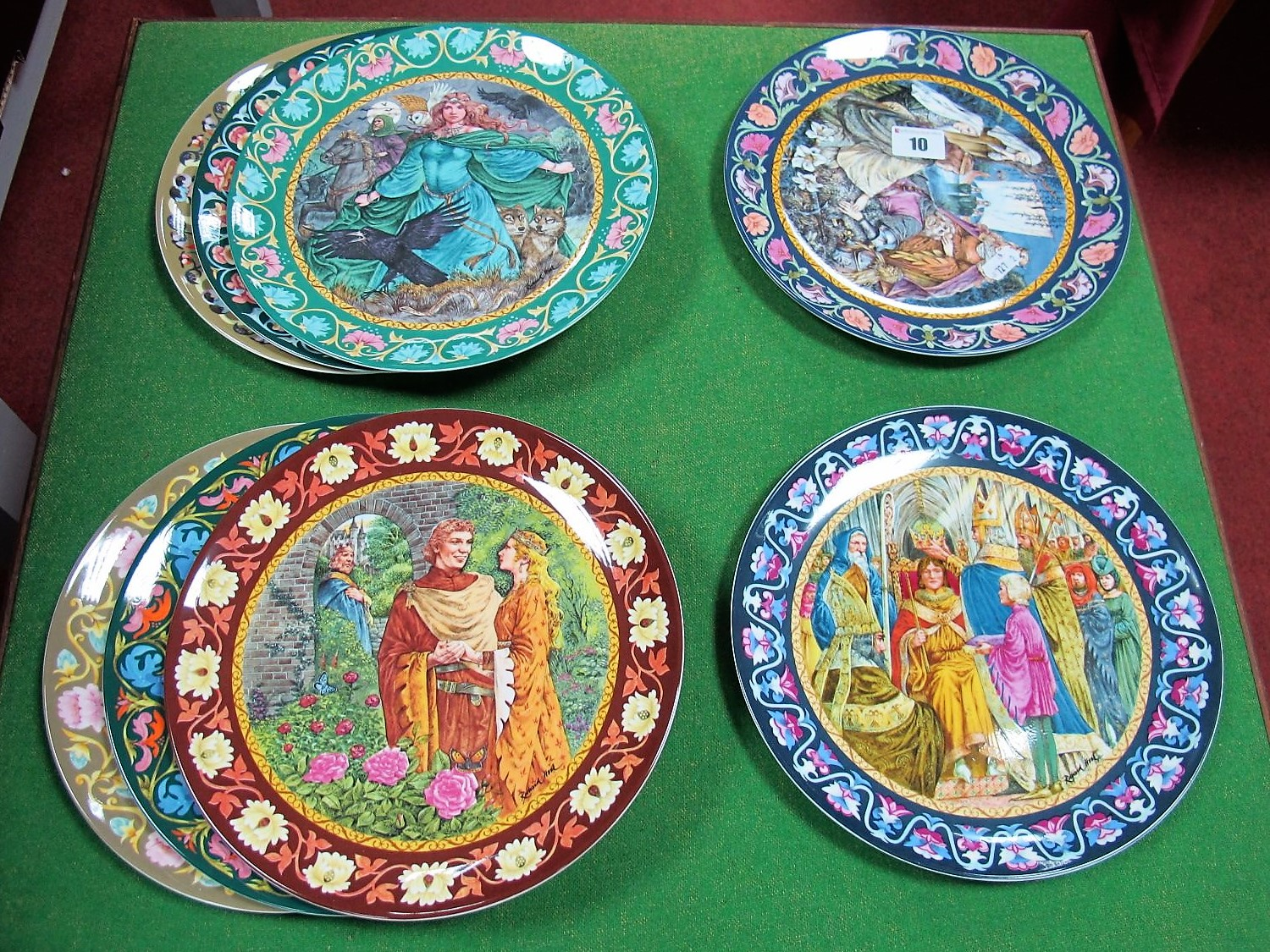 Lot 10 - Wedgwood: The Legend of King Arthur Plates, 1 to 8 from the series, boxed with certificates.