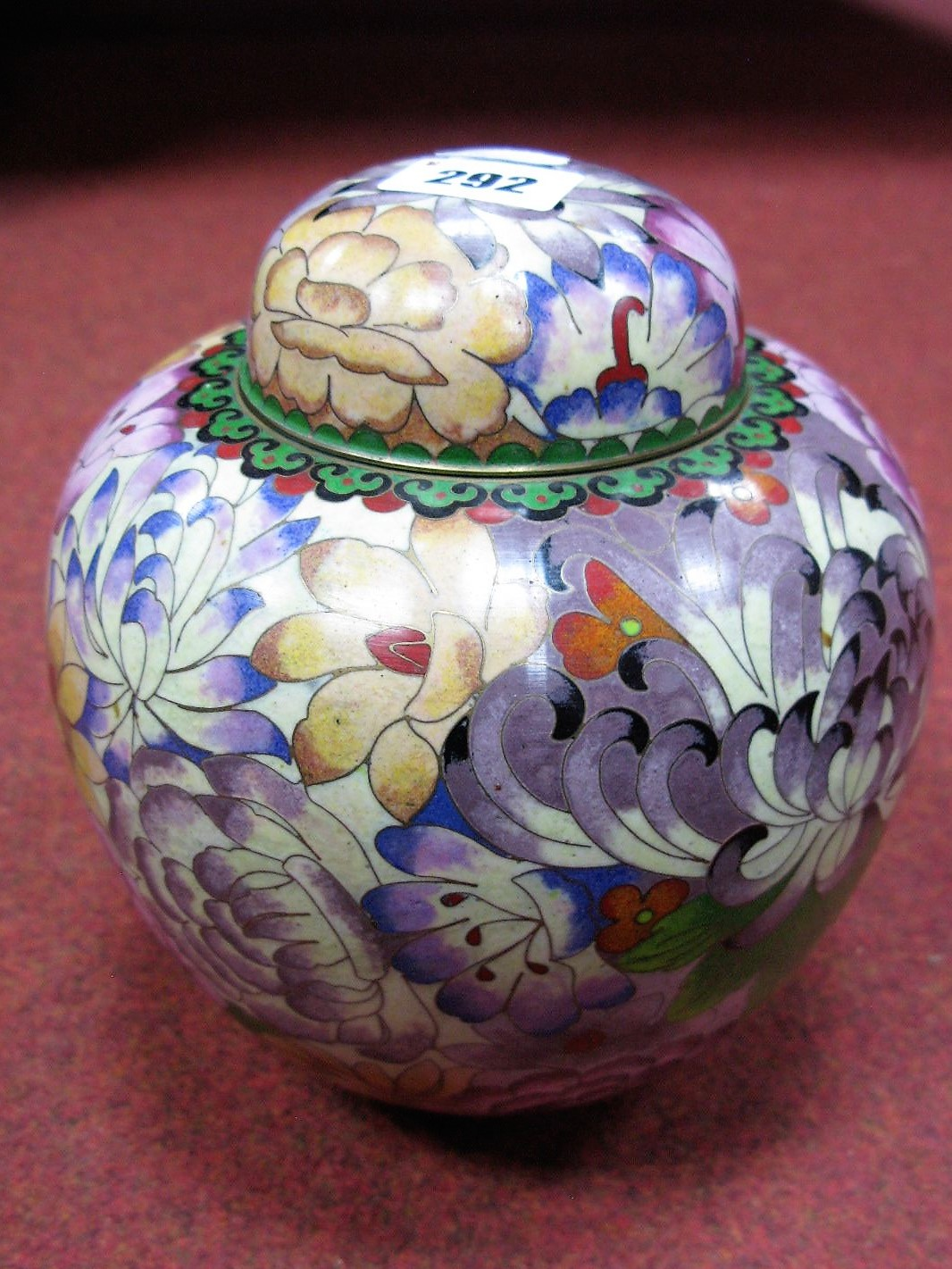 Lot 292 - A XX Century Cloisonné Ginger Jar and Cover, of globular form, decorated profusely with flower