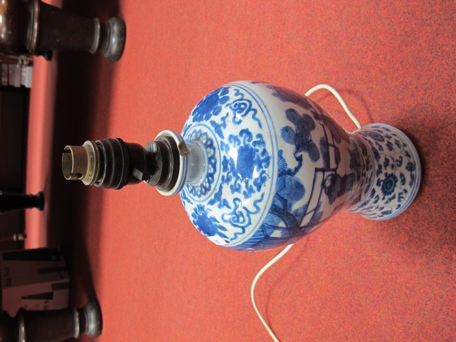 Lot 297 - A Mid XIX Century Chinese Blue and White Vase, of ovoid form, handpainted decoration of figures