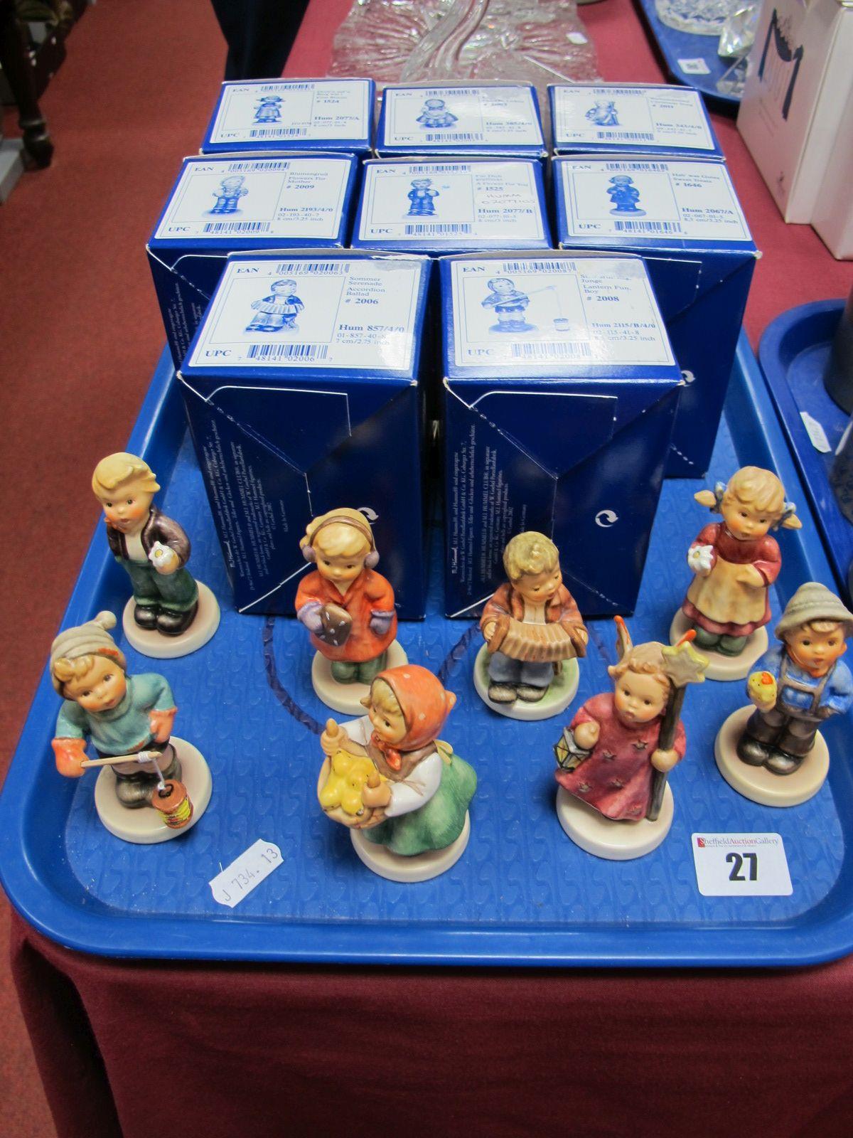 Lot 27 - Eight Boxed M. J. Hummel/Goebel Figures, including Accordion Ballad, Lantern Fun Boy, Flowers for