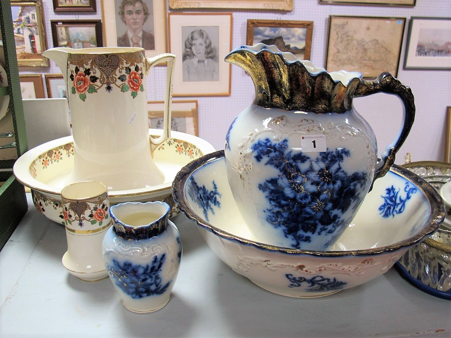 Lot 1 - A Falcon Ware Toilet Jug and Bowl, with matching toothbrush holder, each with transfer printed
