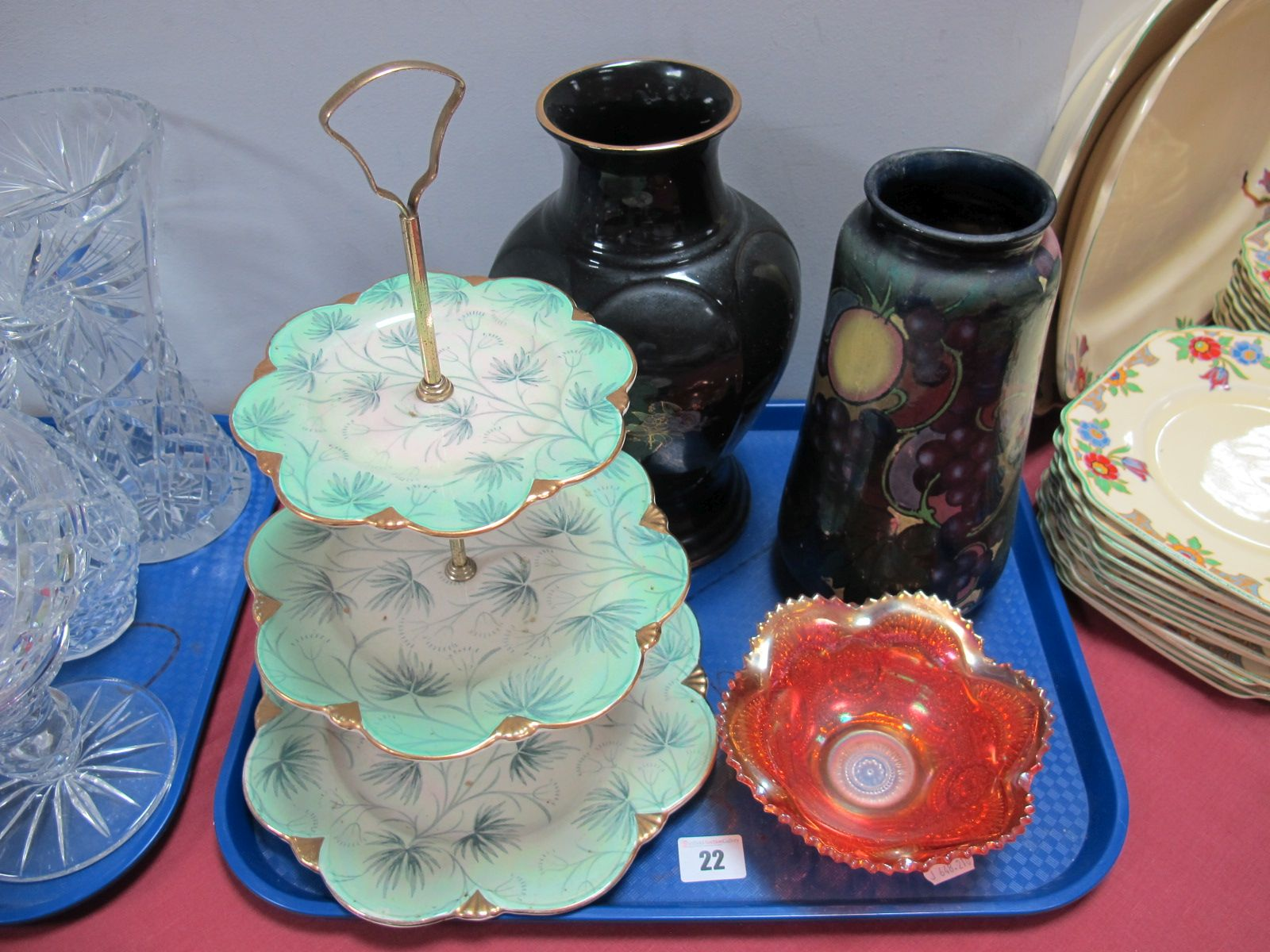 """Lot 22 - A Royal Winton """"Grimwades"""" Three Tier Cake Stand, Royal Stanley ware, """"Jacobean"""" pattern vase,"""