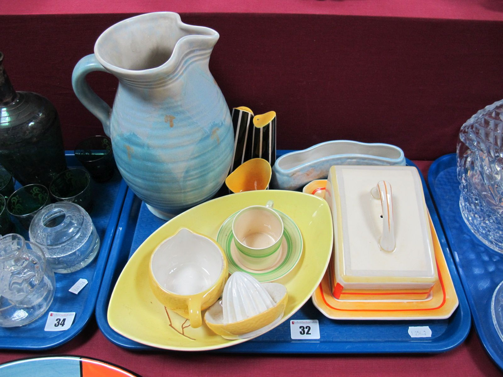 Lot 32 - A Beswick Jug, with rimmed decoration, Carlton Ware dish, Woods Ivory Ware cheese dish:- One Tray