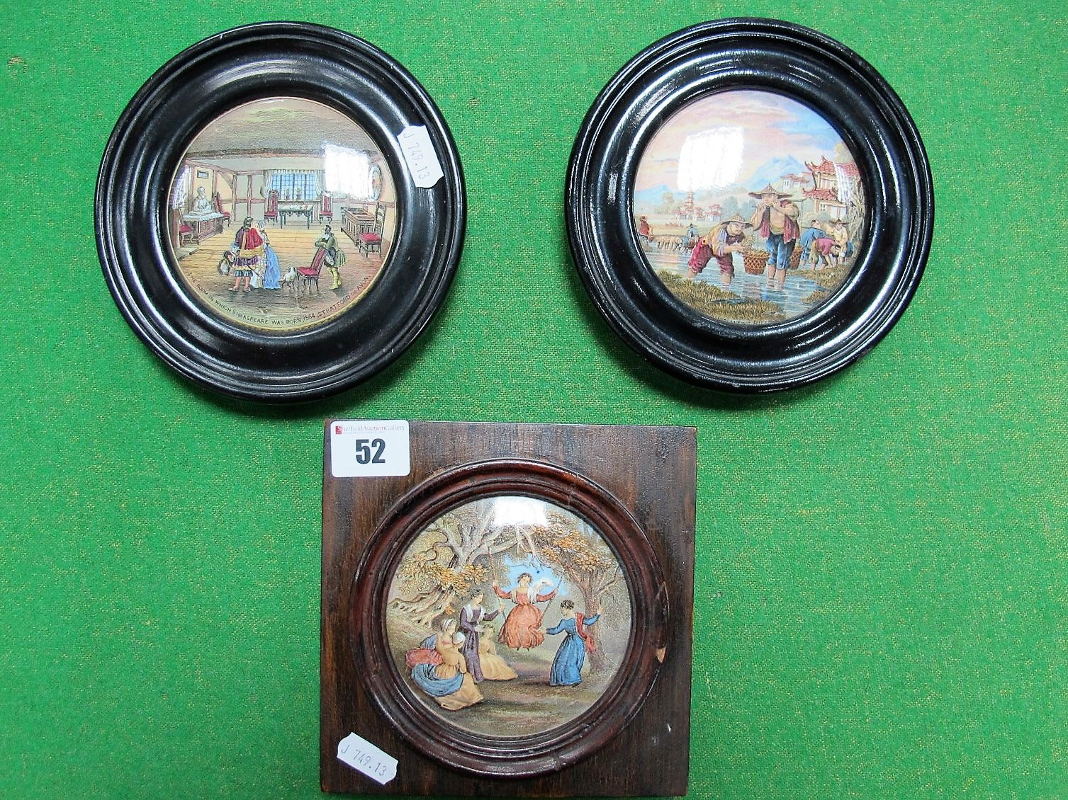 "Lot 52 - Three XIX Century Prattware Pot Lids: ""Transplanting Rice"", ""The Room in Which Shakespeare Was Born"""