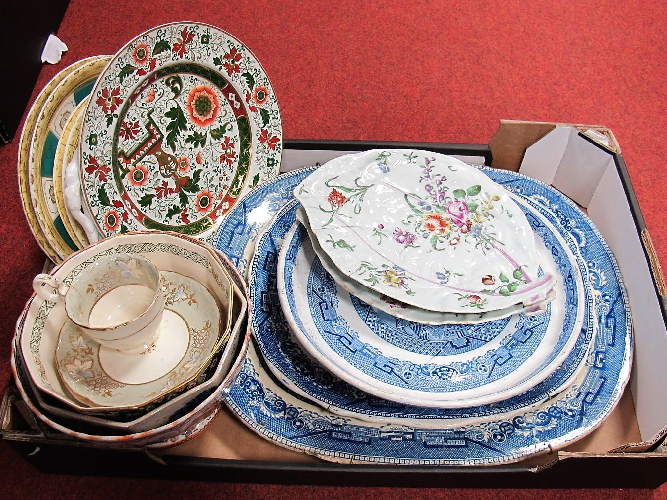 Lot 8 - Victorian Willow Pattern Wares, including meat plates, cake stand, and other Victorian pottery,