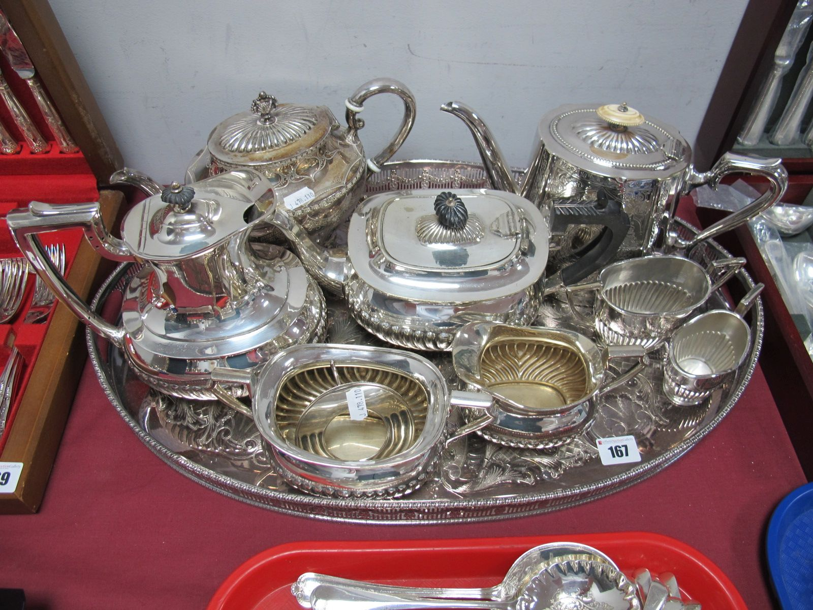 Lot 167 - Decorative Plated Teapots, jugs and sugar bowls, large oval tray, etc.