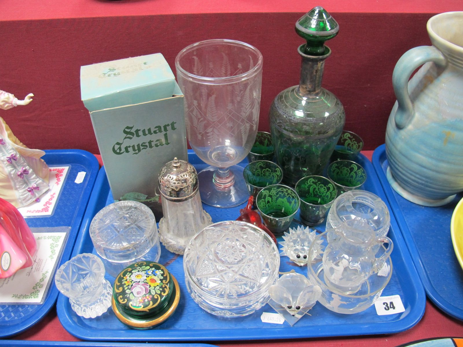 Lot 34 - An Early XX Century Green Glass Liqueur Decanter and Glasses, decorated with silvered overlay