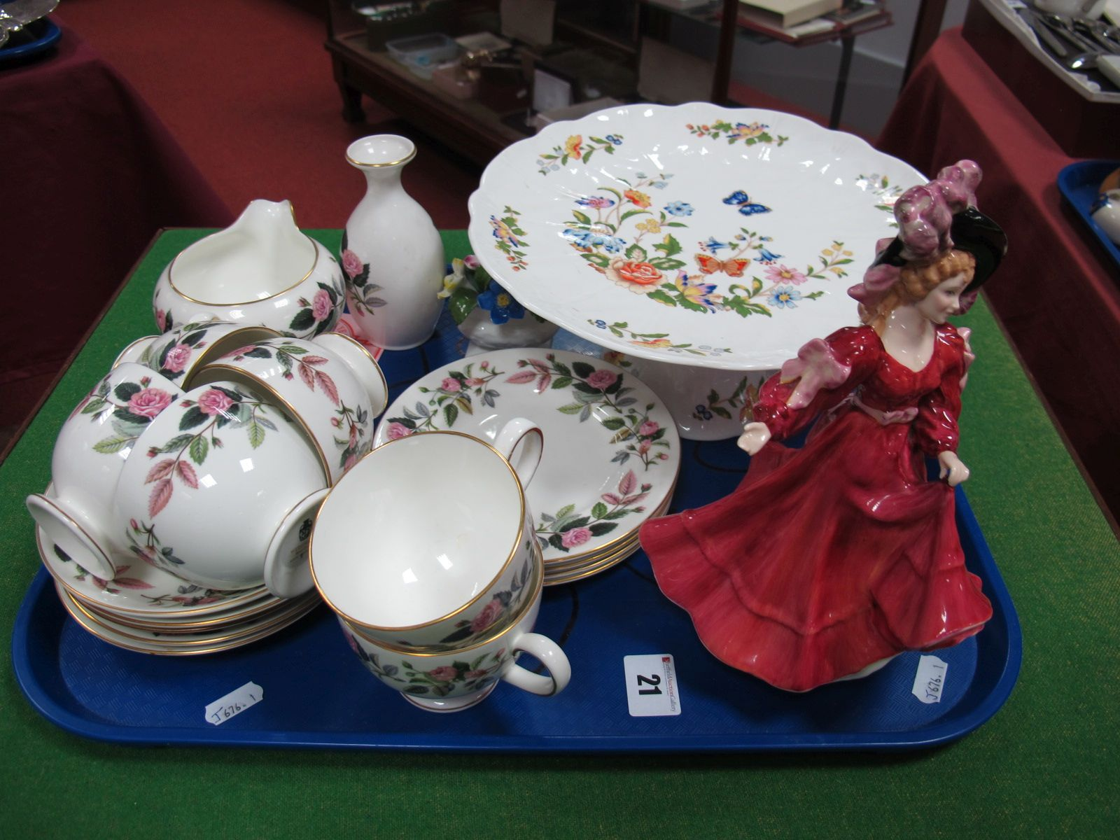 "Lot 21 - Royal Doulton Figurine ""Patricia"", HN3365 with certificate, Aynsley ""Cottage Garden"" pedestal"