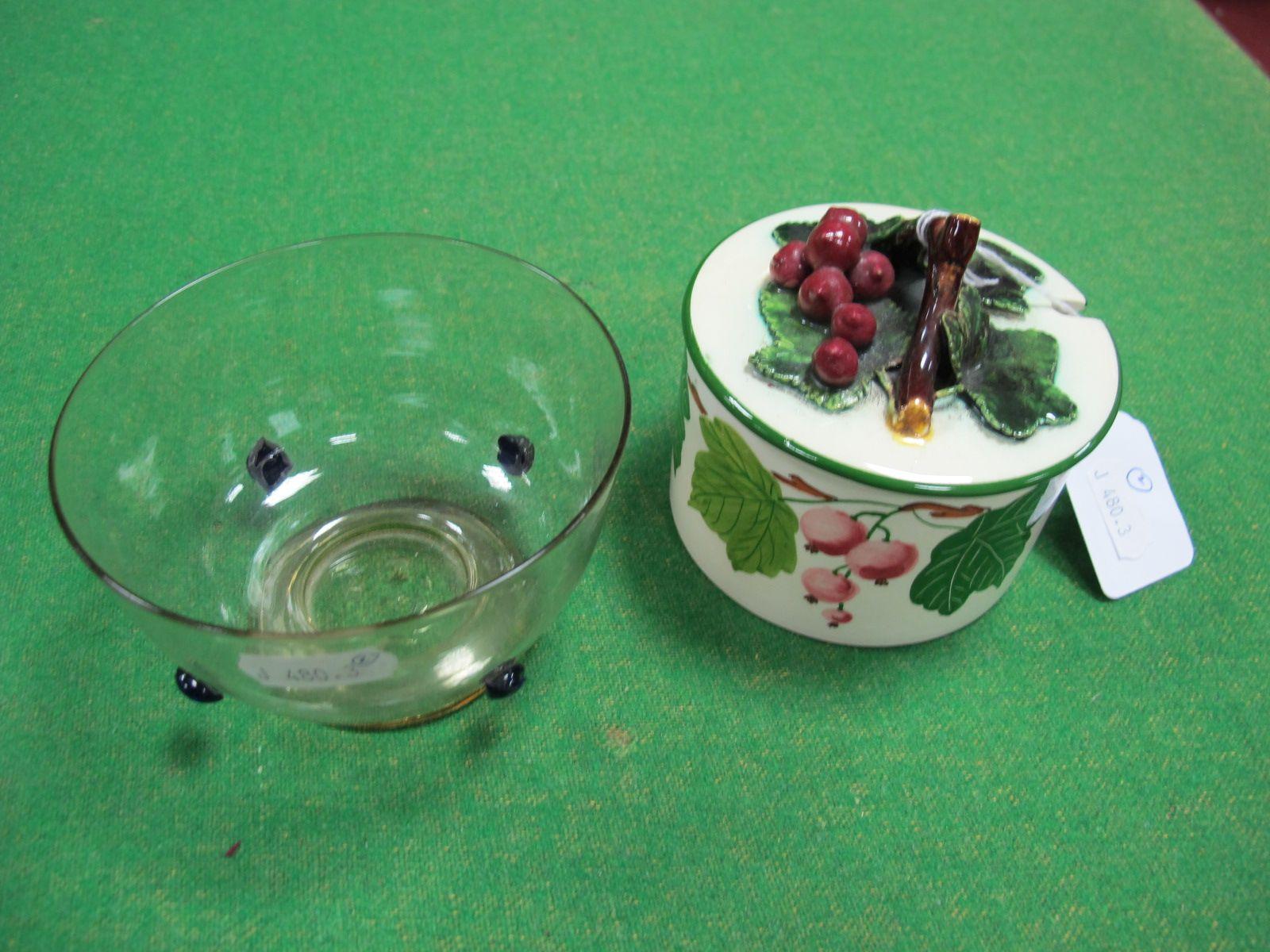 Lot 45 - A XIX Century Hand Blown Clear Glass Dish, circular foot, within four deep blue glass applied