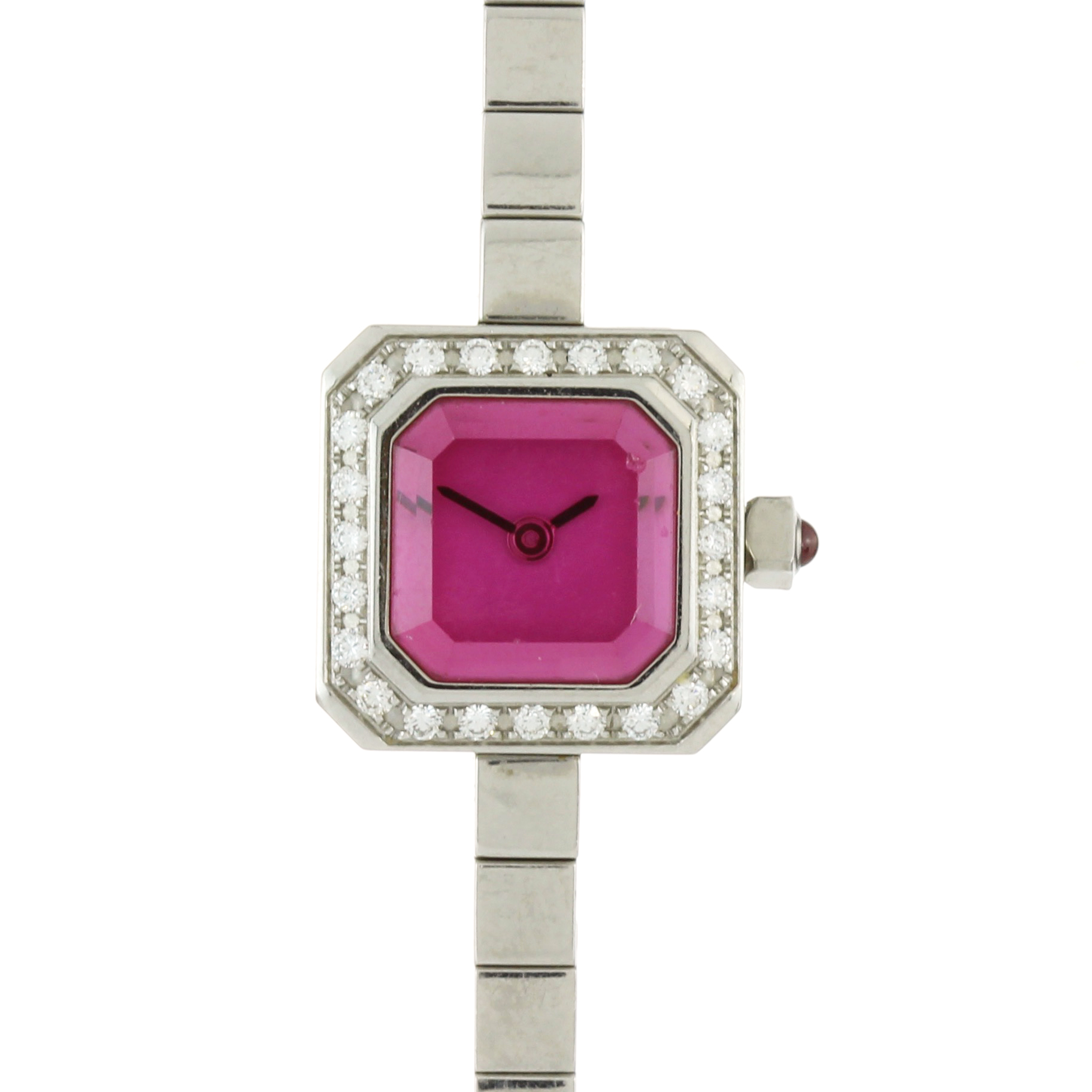 Los 218 - A stainless steel sugar cube wristwatch by Corum with pink face and jewelled with white sapphires.