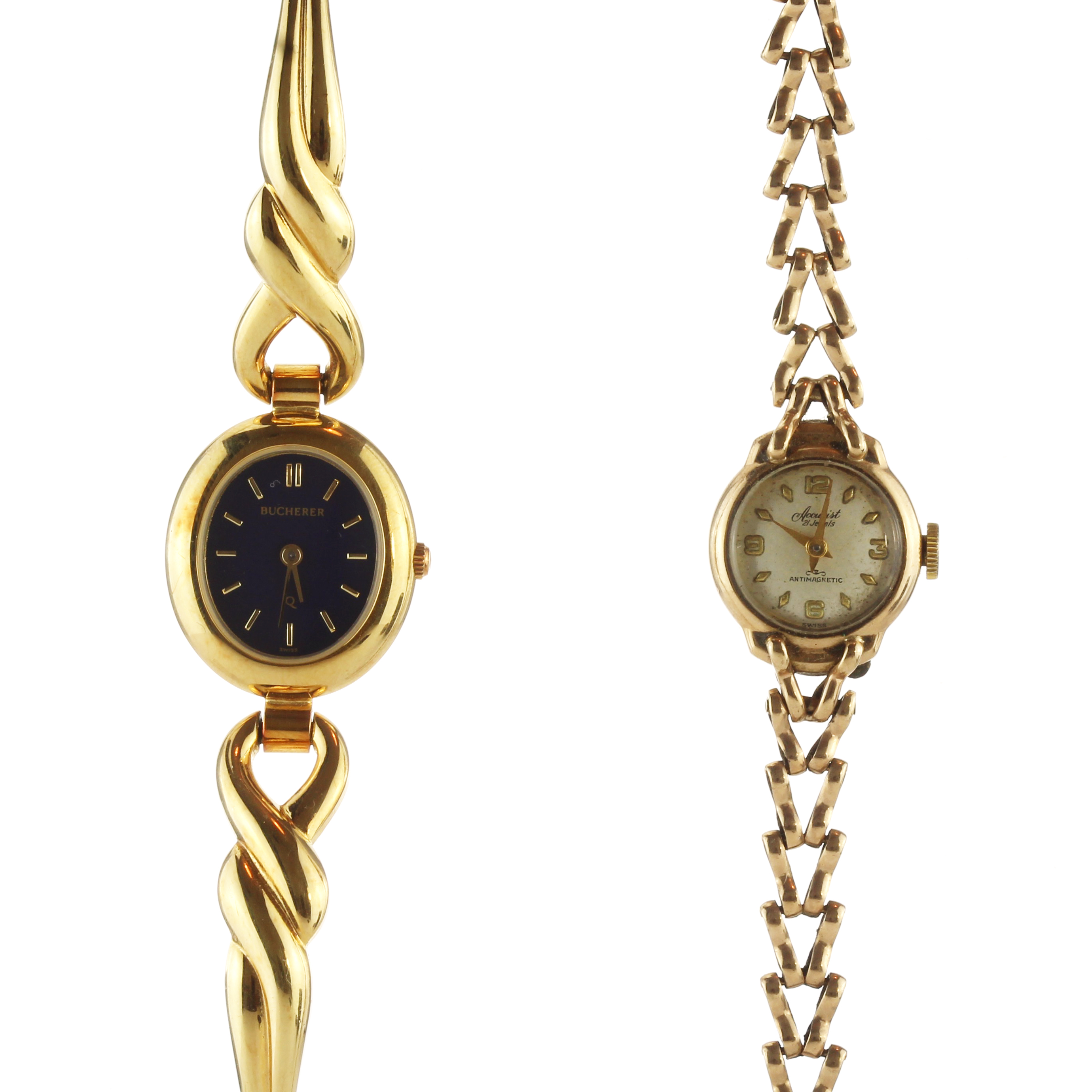 Los 56 - An antique ladies 9ct yellow gold Accurist cocktail watch together with a Bucherer gold plated