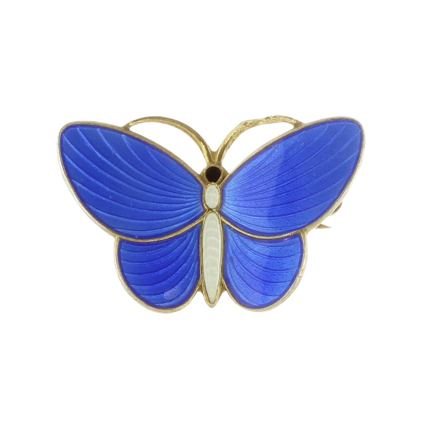 Los 11 - An antique Norwegian enamel butterfly brooch in sterling silver designed as a butterfly, with blue
