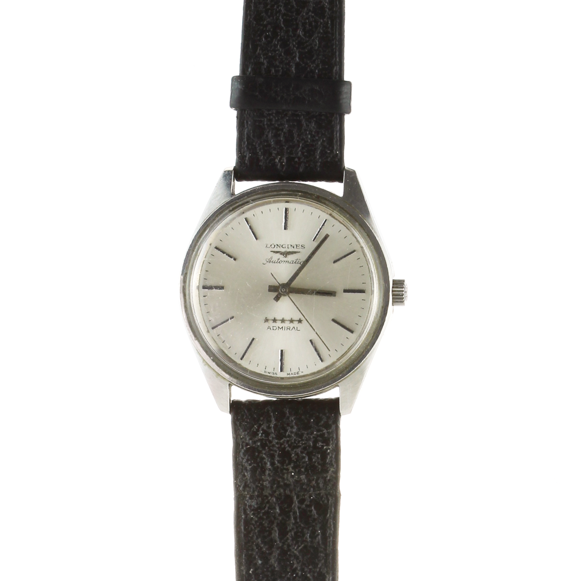 Los 58 - LONGINES An Automatic Admiral stainless steel wristwatch by Longines on a leather strap.