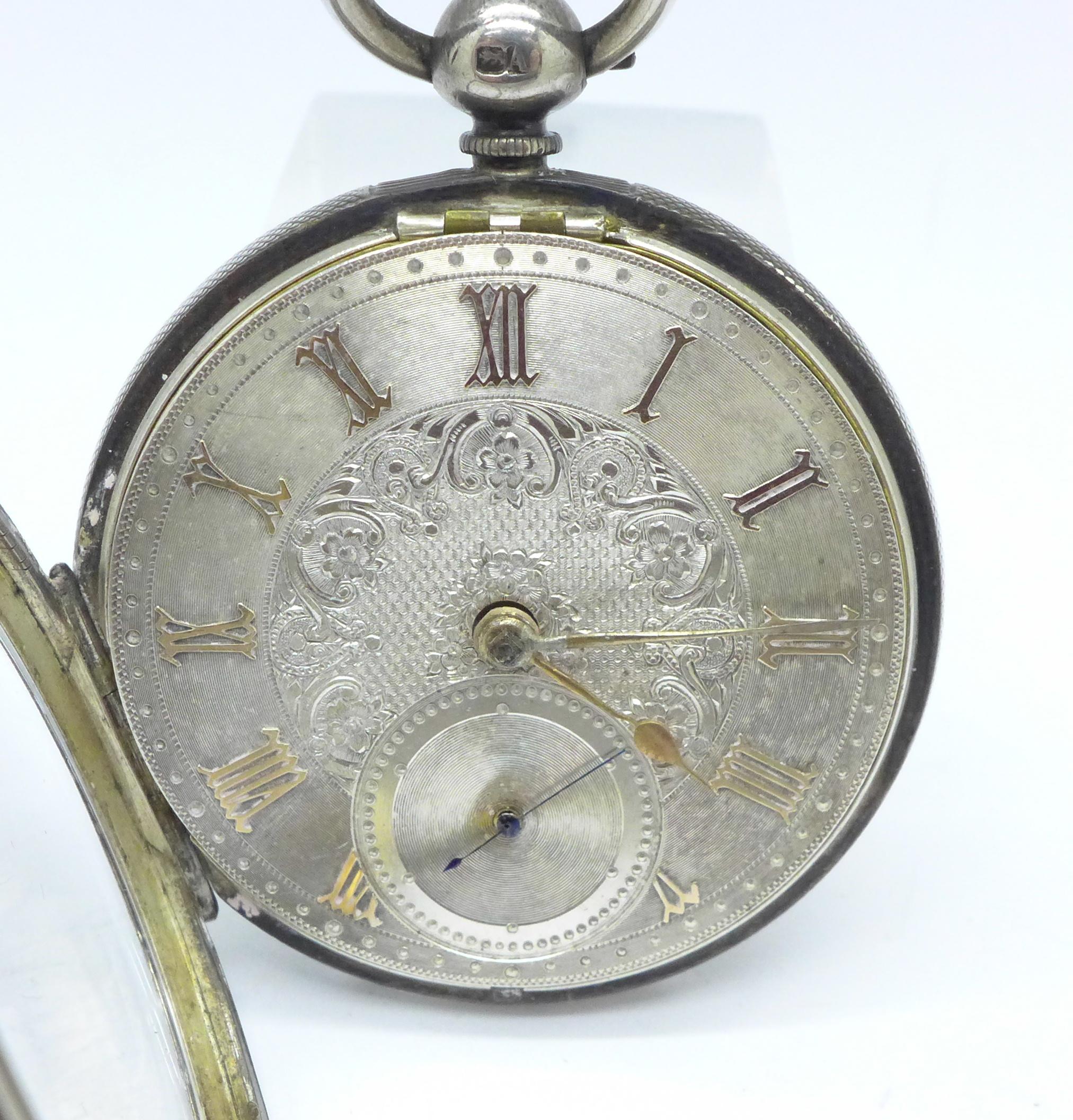 Lot 935 - A silver pocket watch by Benson