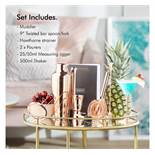 (OM49) Rose Gold Parisian Cocktail Set Set includes a muddler, double-ended bar spoon/ fork, H...