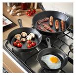 (OM51) 3pc Cast Iron Skillet Set Traditional cast iron construction, pre-seasoned with natural...