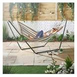 (OM36) Single Hammock with Black Frame The canvas is made from 100% breathable soft cotton St...