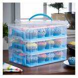 (OM42) 3 Tier Cupcake Carrier Blue The stylish way to store your cakes and cupcakes Rotatable...