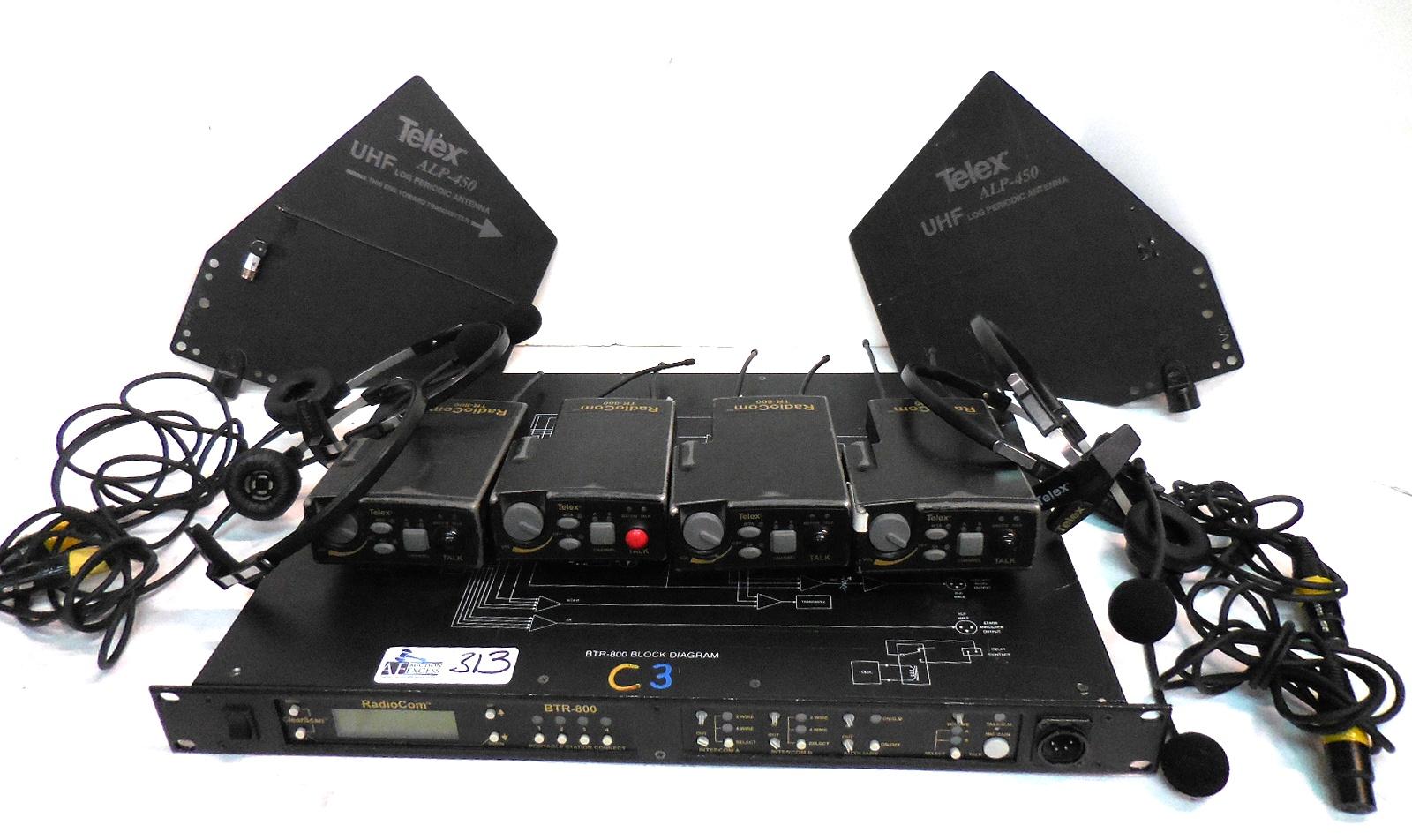 Includes 4 Tr 800 Transmitters Alp 450 Antennas And Case Sony Ccu Intercom Wiring Harness Lot 313 Rts Telex Radiocom Btr 2 Ch Uhf Synthesized Wireless